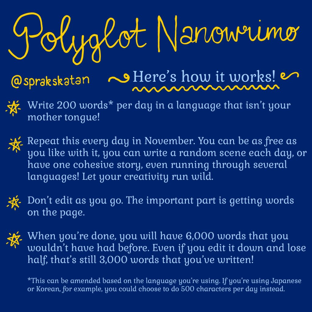 Polyglot NaNoWriMo Rules - from @sprakskatan